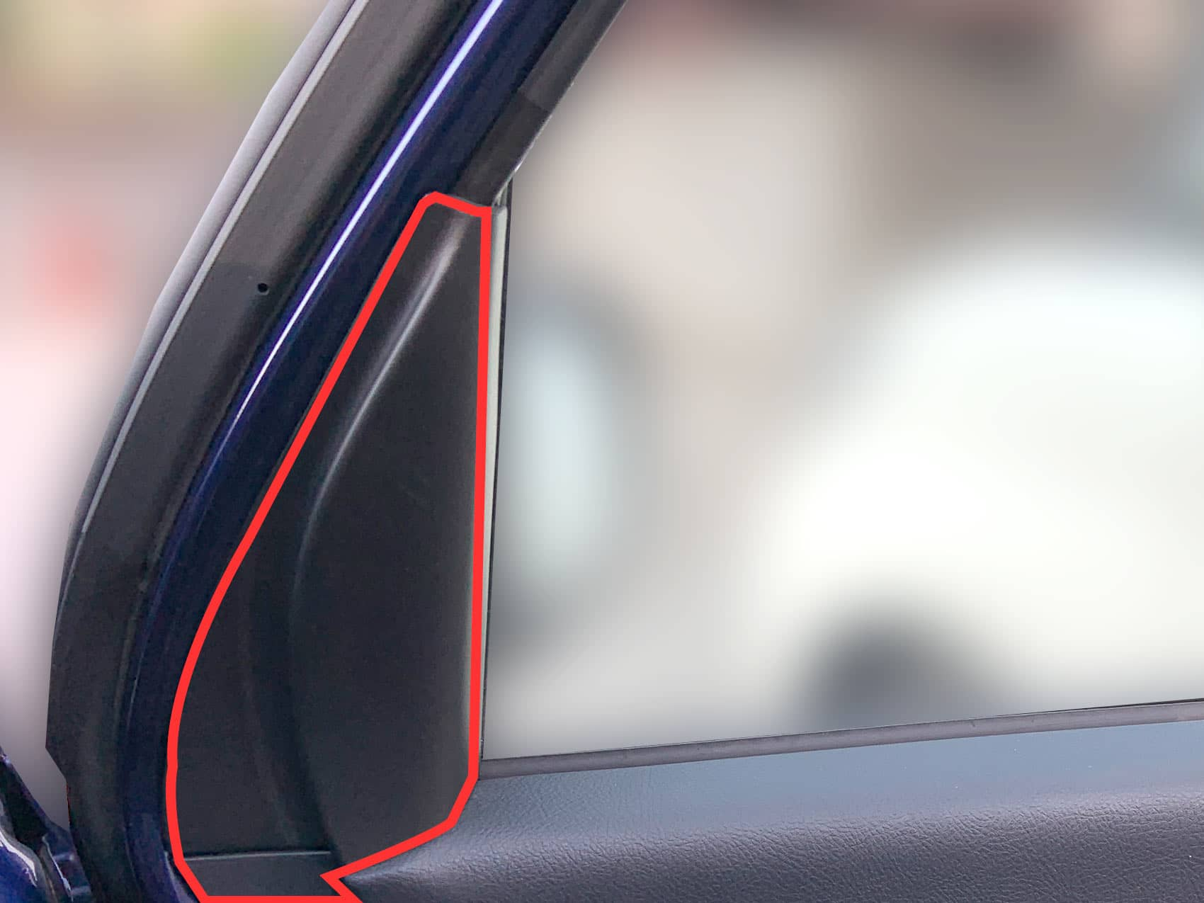 ドア窓枠のカバー