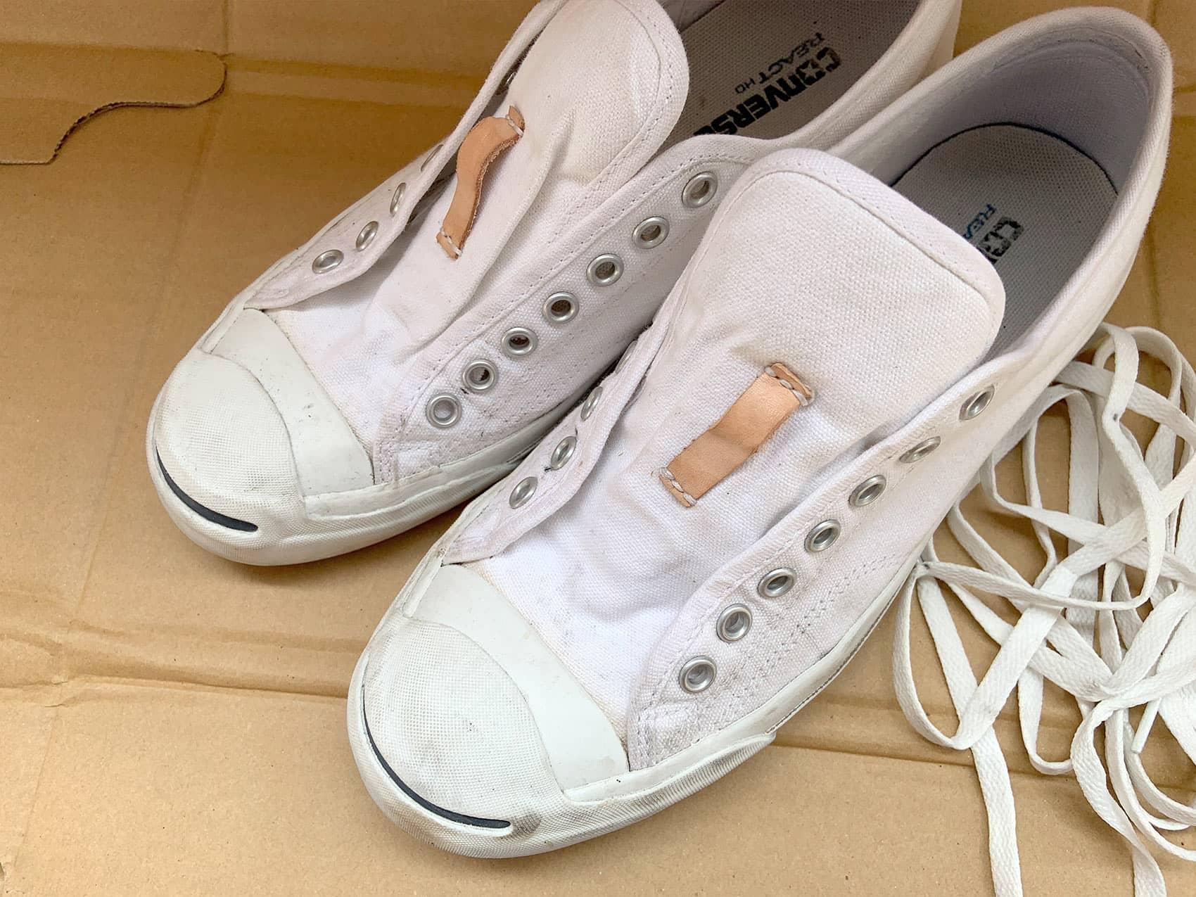 靴紐をほどいた所